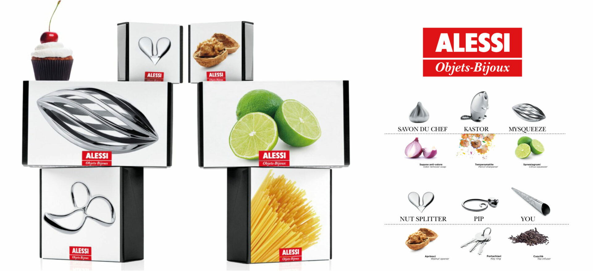 Objects-Bijoux packaging showed in a vertical composition of boxes of diverse products for Alessi Collection detailing logos and images selected for the packaging in a white background. On the right side a picture of the front of the boxes is shown.