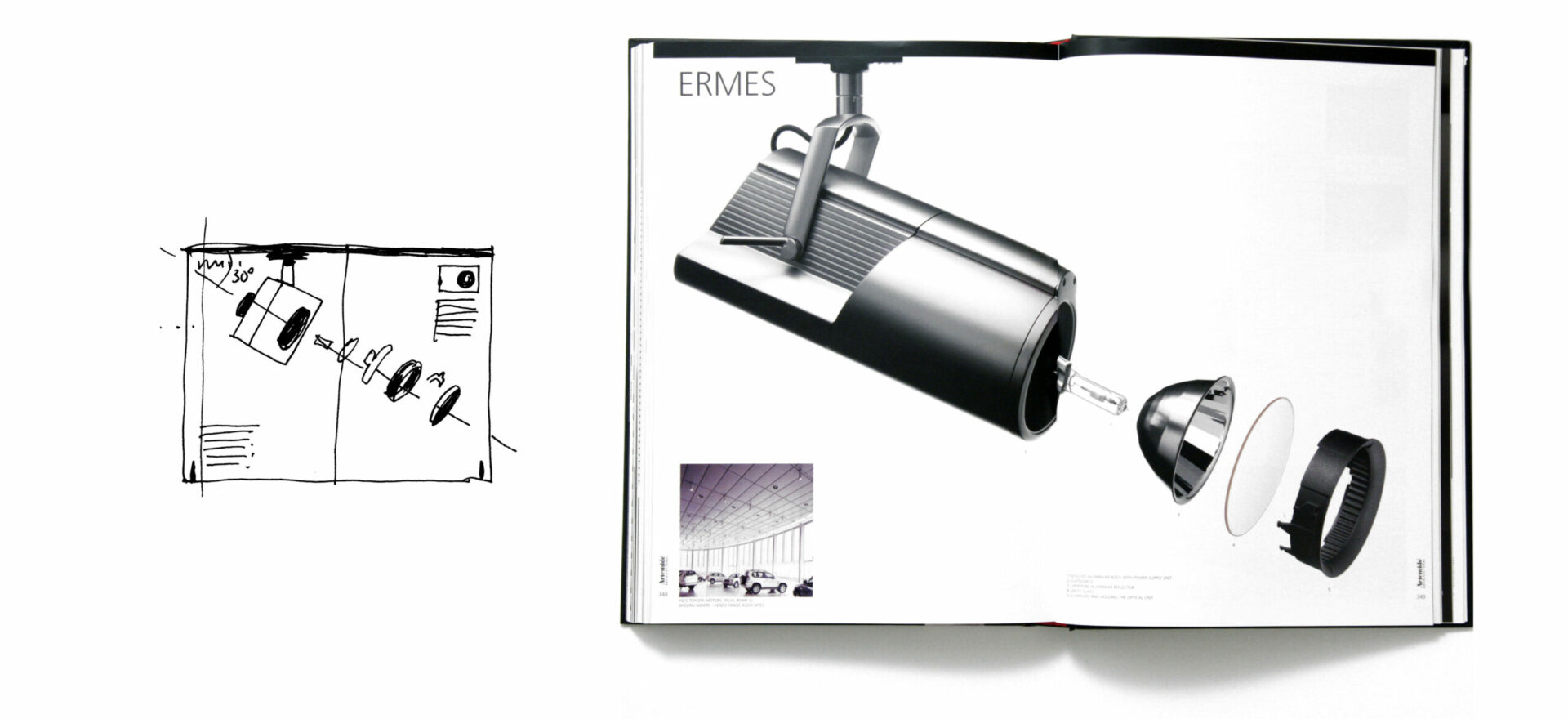 Greyscale Catalog of Ermes model for Artemide Architectural, light design with 1 sketch in black and white on the left side of the image and the opened brochure on the right side of the image showing model Ermes in a greyscale image with white background.