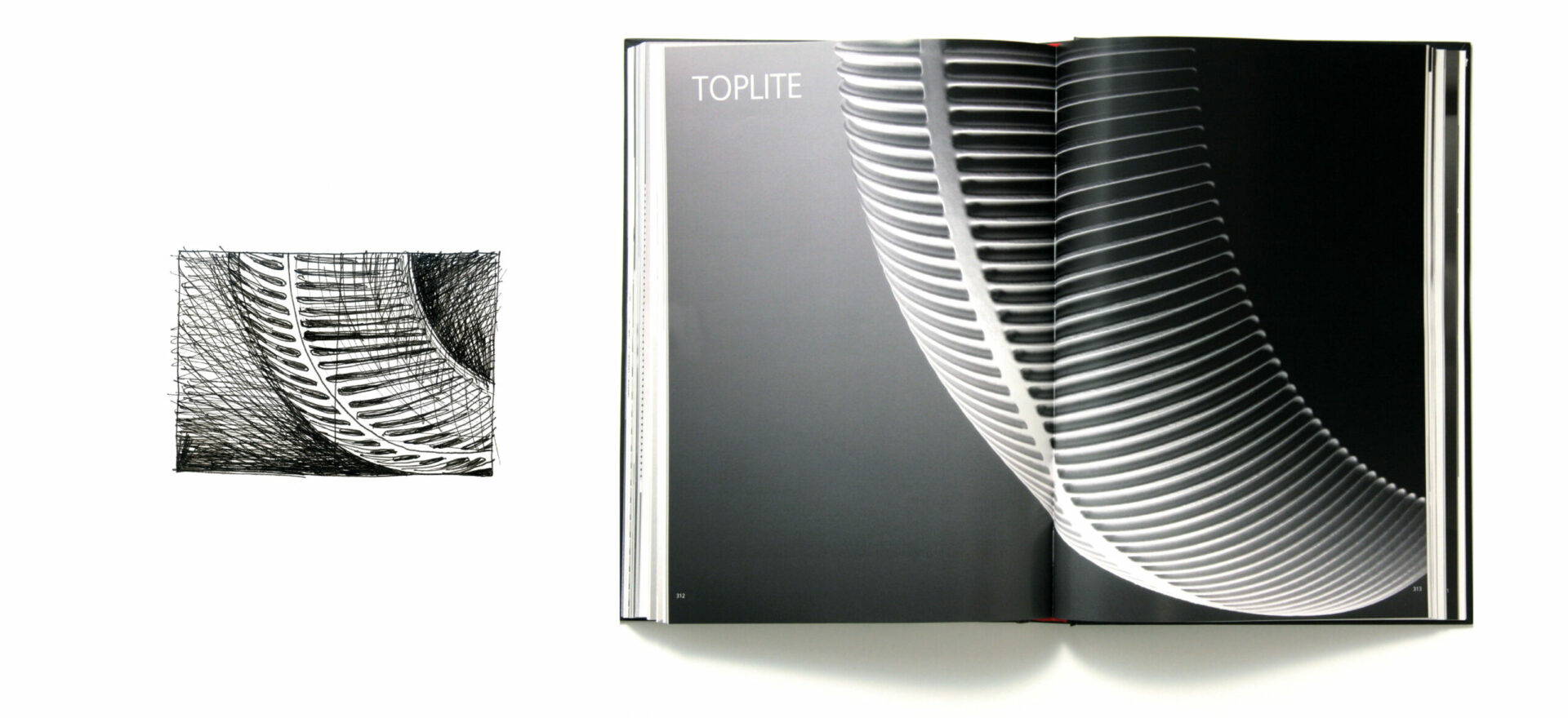 Greyscale Catalog of Toplite model for Artemide Architectural, light design with 1 sketch in black and white on the left side of the image and the opened brochure on the right side of the image showing model Toplite in a greyscale image.