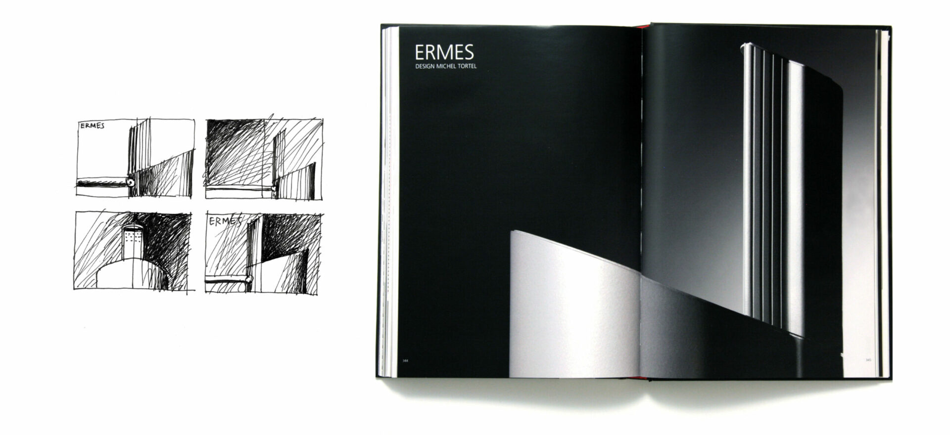 Greyscale Technical Brochure of Ermes model for Artemide Architectural, light design with 4 sketches in greyscale on the left and the opened brochure on the right showing model Ermes in a greyscale background.