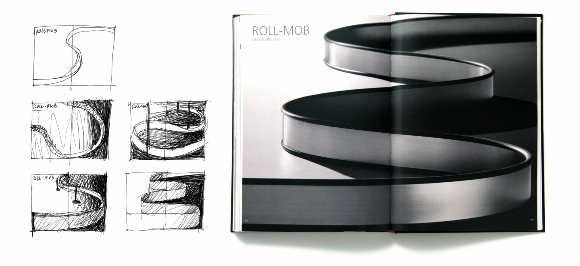 Greyscale Technical Brochure for Artemide Architectural, light design with 5 sketches in greyscale and the opened brochure on the right showing model Roll-Mob in a withe background.