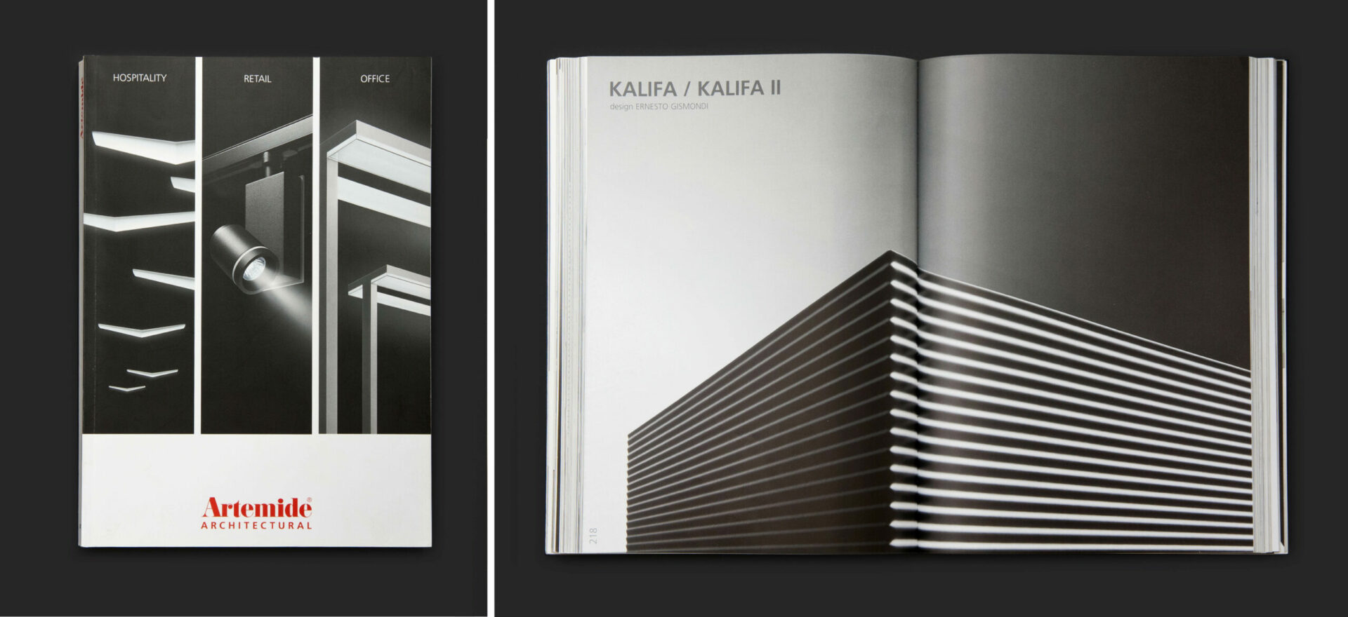 Hospitality, retail and office light catalog for Artemide Architectural in greyscale on a black background. On the right side of the screen the open catalog shows a detail of the model Kalifa and Kalifa II in greyscale with blackbackground.