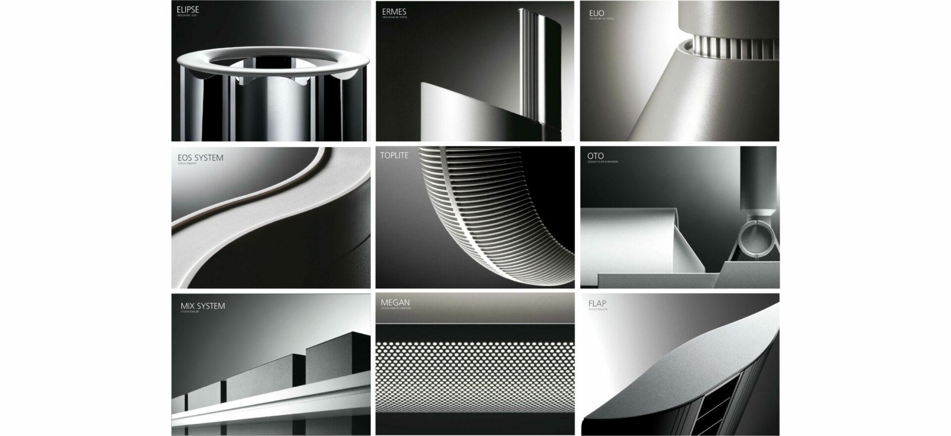 Nine light catalogues showing Elipse, Ermes, Elio, EOS System, Toplite, Oto, Mix System, Megan and Flap lights from Artemide Architectural.