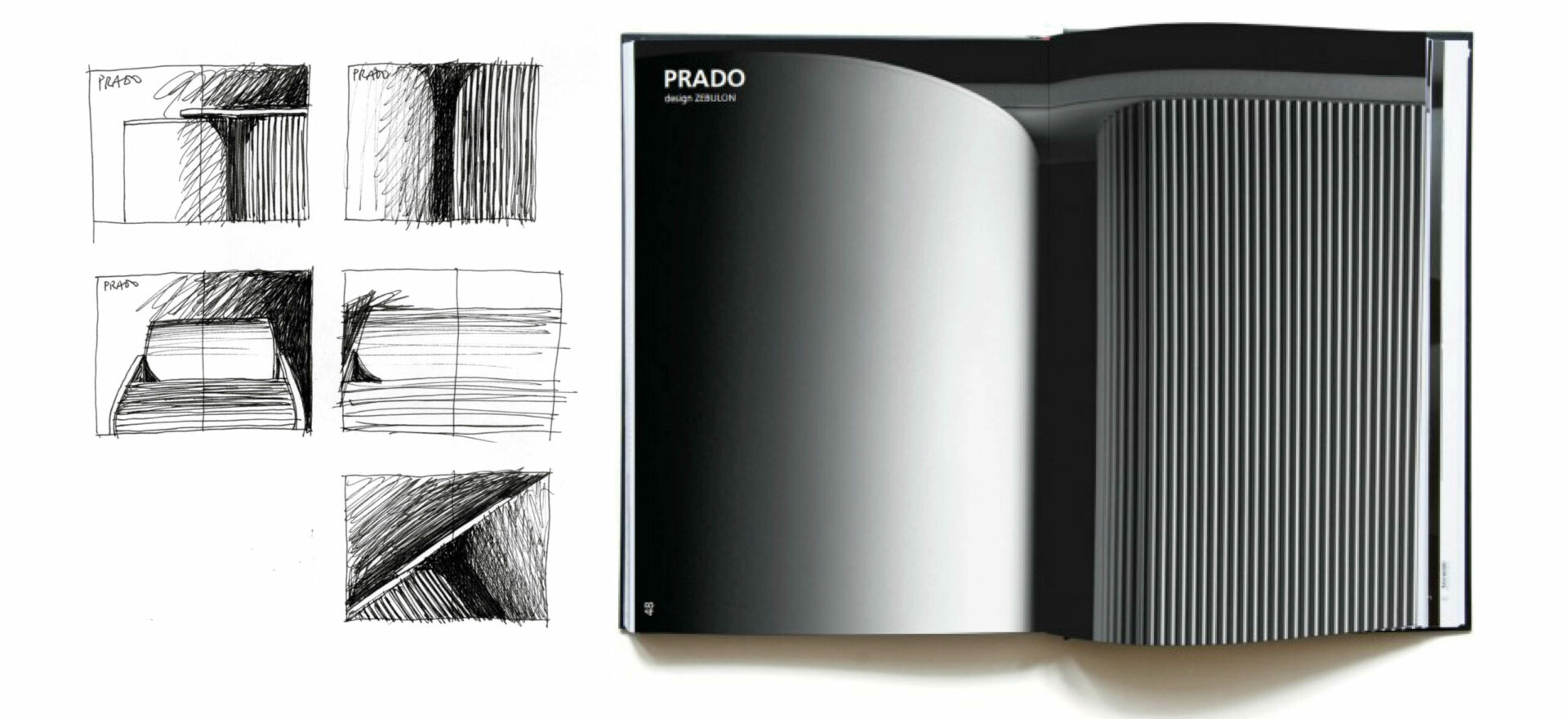 Five design drawings and a light catalogue showing Prado wall r7s White light from Prado Collection for Artemide Architectural.