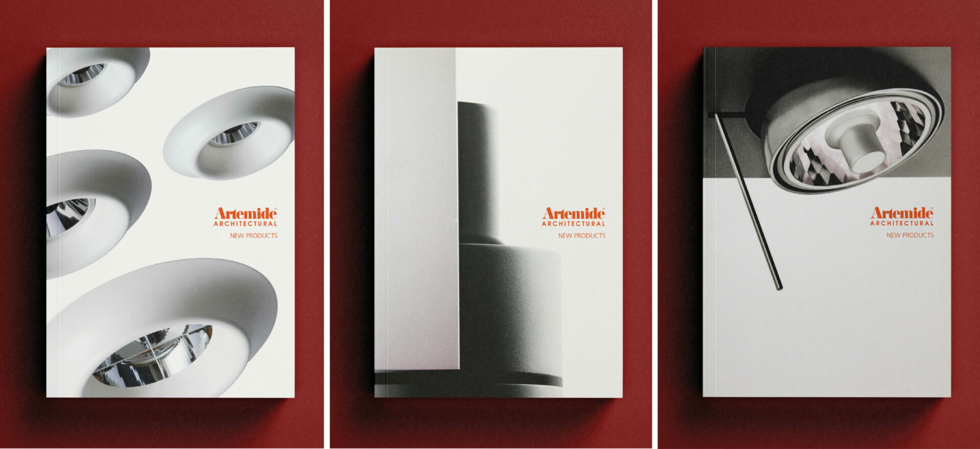 Three light catalogues for Artemide of a compact and ultra-lightweight directional projector.