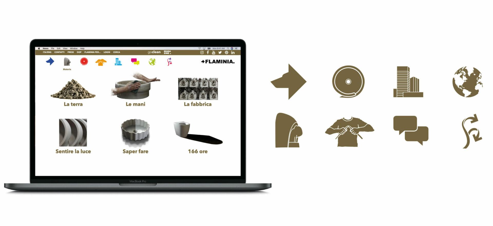 Website Iconography| Graphic Design | Art Direction | Ceramica Flaminia | Mario Trimarchi Design | Fragile