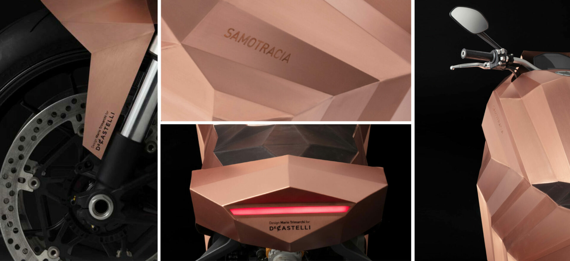 Four close up images of a copper motorbike built on a Ducati Monster chassis in a black background with lights on.