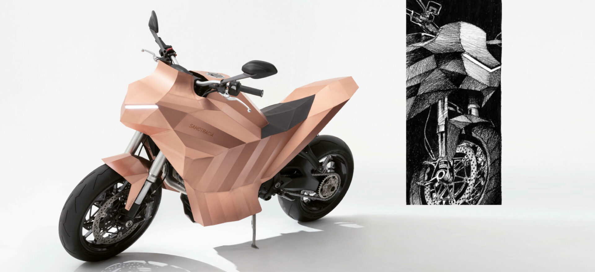 Two images composed by a three quarters left view of a standalone copper motorbike built on a Ducati Monster chassis in a white background with lights on, and a Samotraccia drawing showing a three quarters right view.