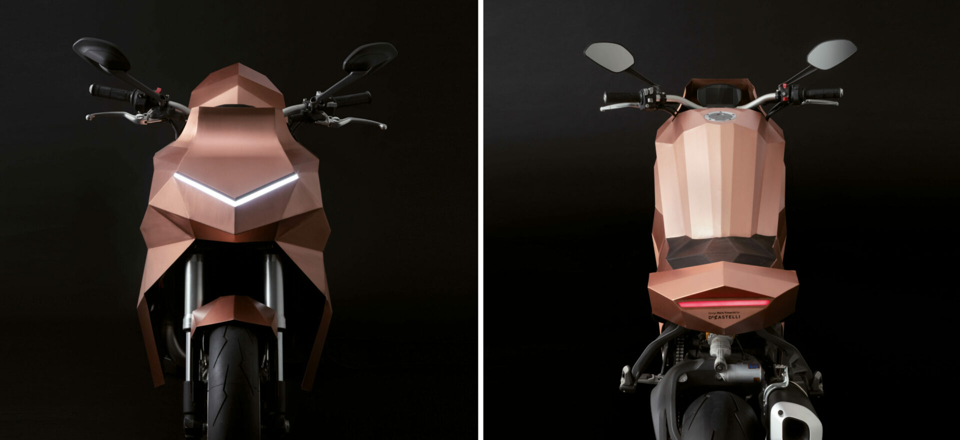 Front and back of a standalone copper motorbike built on a Ducati Monster chassis in a black background with lights on.