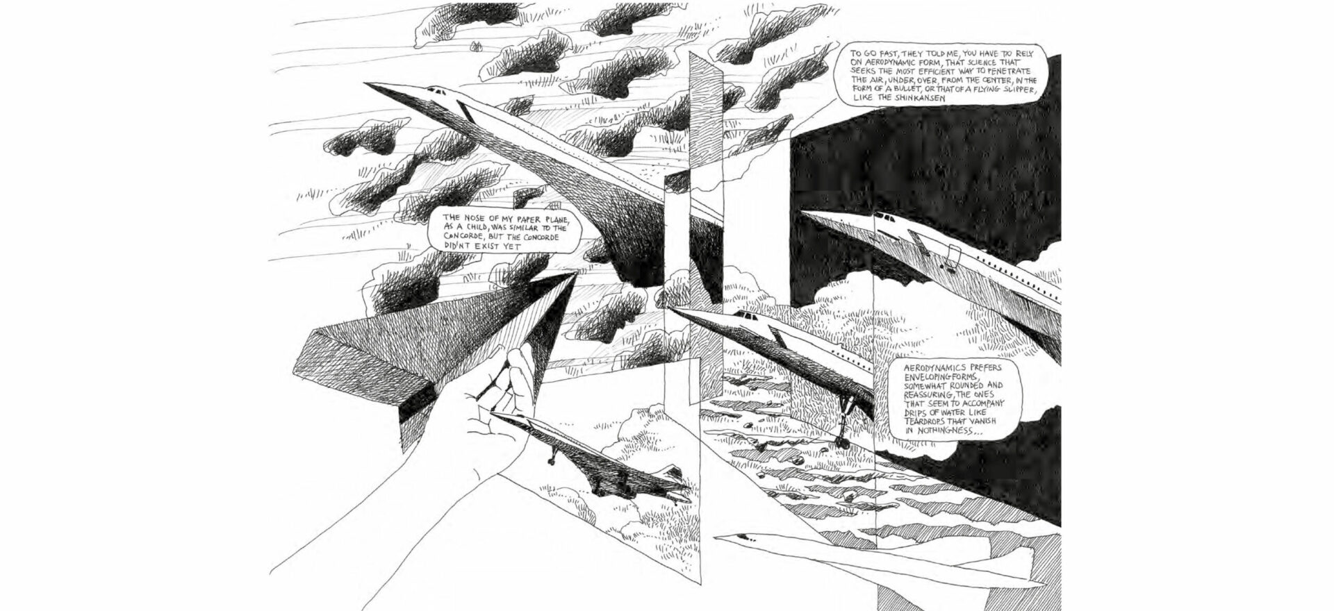 Samotraccia Art Drawing by Mario Trimarchi for De Castelli, showing details related the forms, aerodynamics, and the Concorde Airplane in coparisson with the a paper plane of childhood.