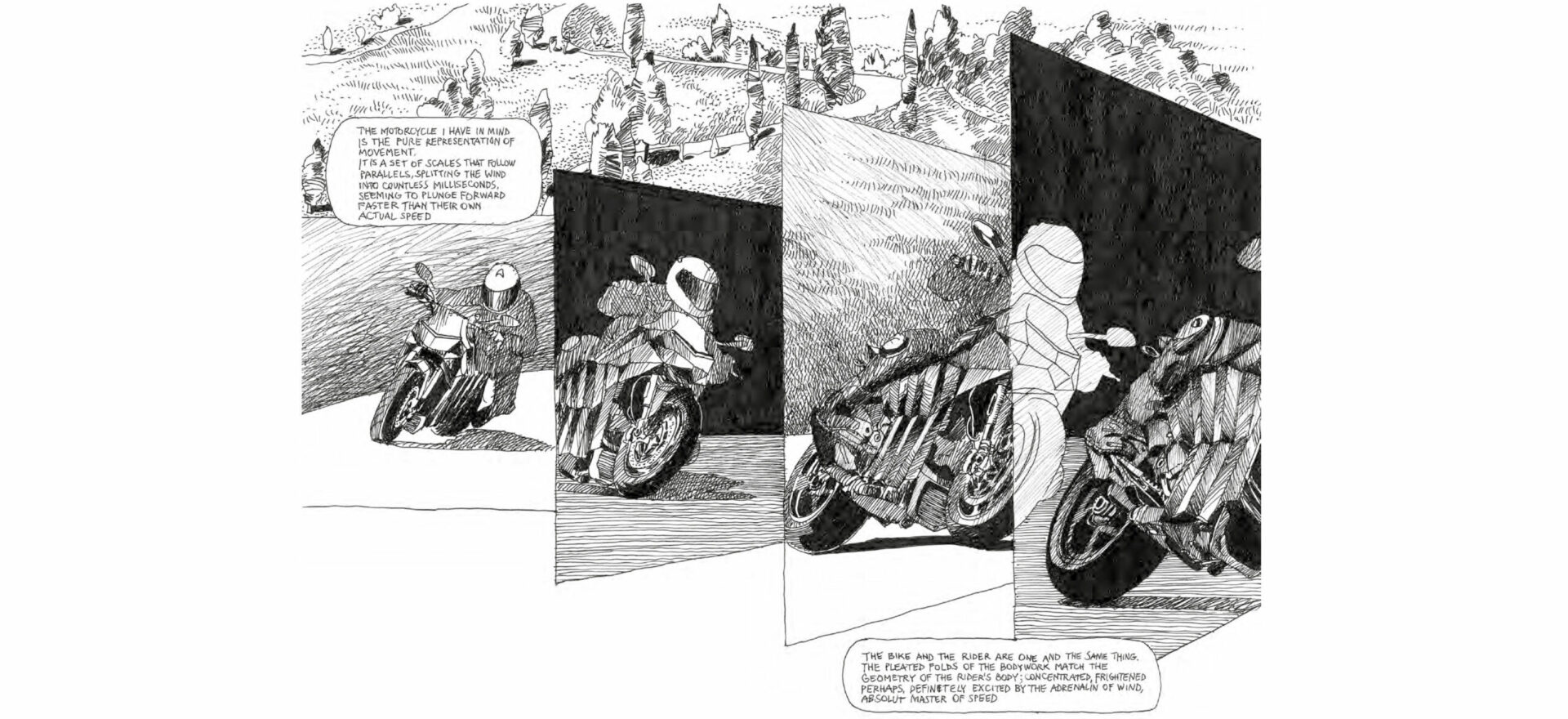 Samotraccia copper motorbike Art Drawing by Mario Trimarchi for De Castelli with black ink on white paper showing a Manga style on the details delated form, speed and time.