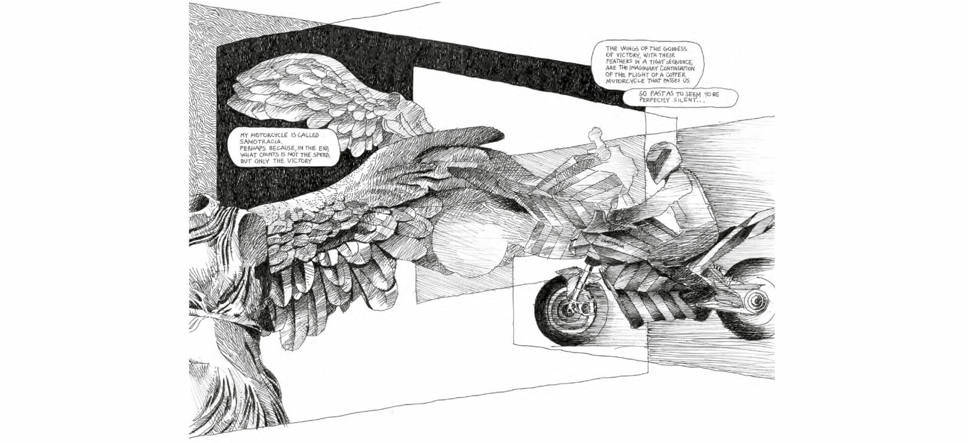 Samotraccia copper motorbike Art Drawing by Mario Trimarchi for De Castelli with black ink on white paper showing a Manga style on the inspiration of the design.