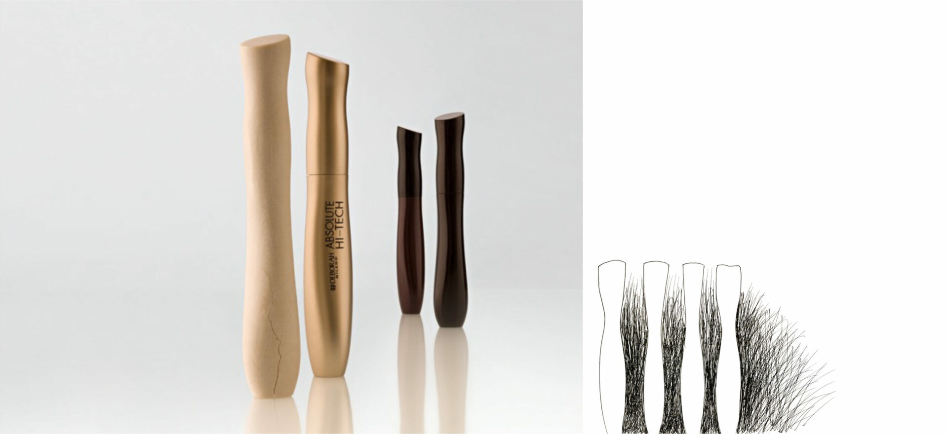 Four packages of Mascara beauty products for Deborah Milano in color with a greyscale background. In 2007 the packaging of the Bioetyc skincare line won the Good Design Award.