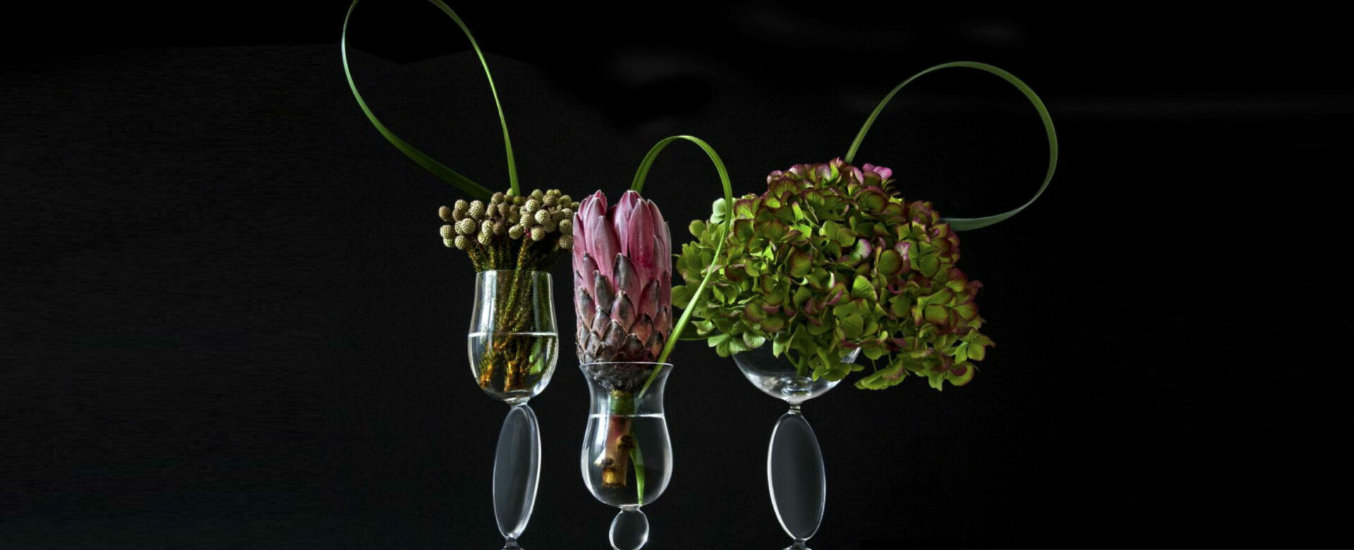 A collection of glasses creating small towers of balance decorated by hydrangeas, leaves and exotic flowers in a black background.