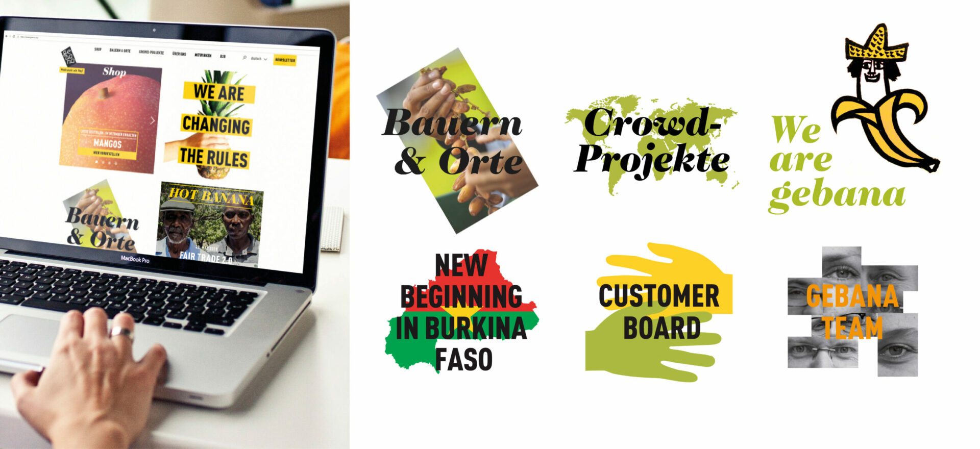 Website of Gebana on a laptop showing details of typography, titles, images and texts detailing composition of the branding and different logos used on the sections of the site.