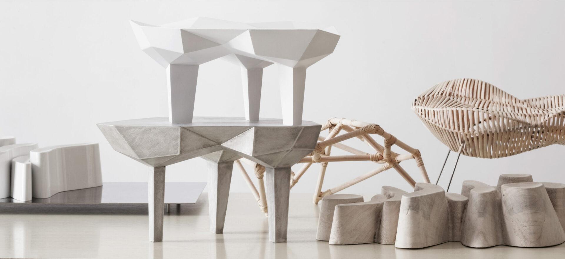 Oggetti Smarritti center pieces by Mario Trimarchi in a white background.
