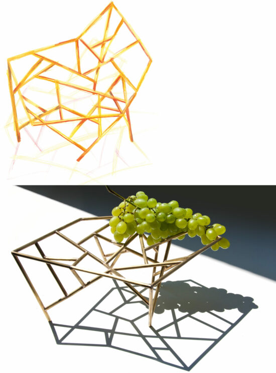 The cliff awaits the storm, Art Drawing by Mario Trimarchi. And a picture showing the centerpiece holding grapes with a projection of direct light that produces a shadow on the table.
