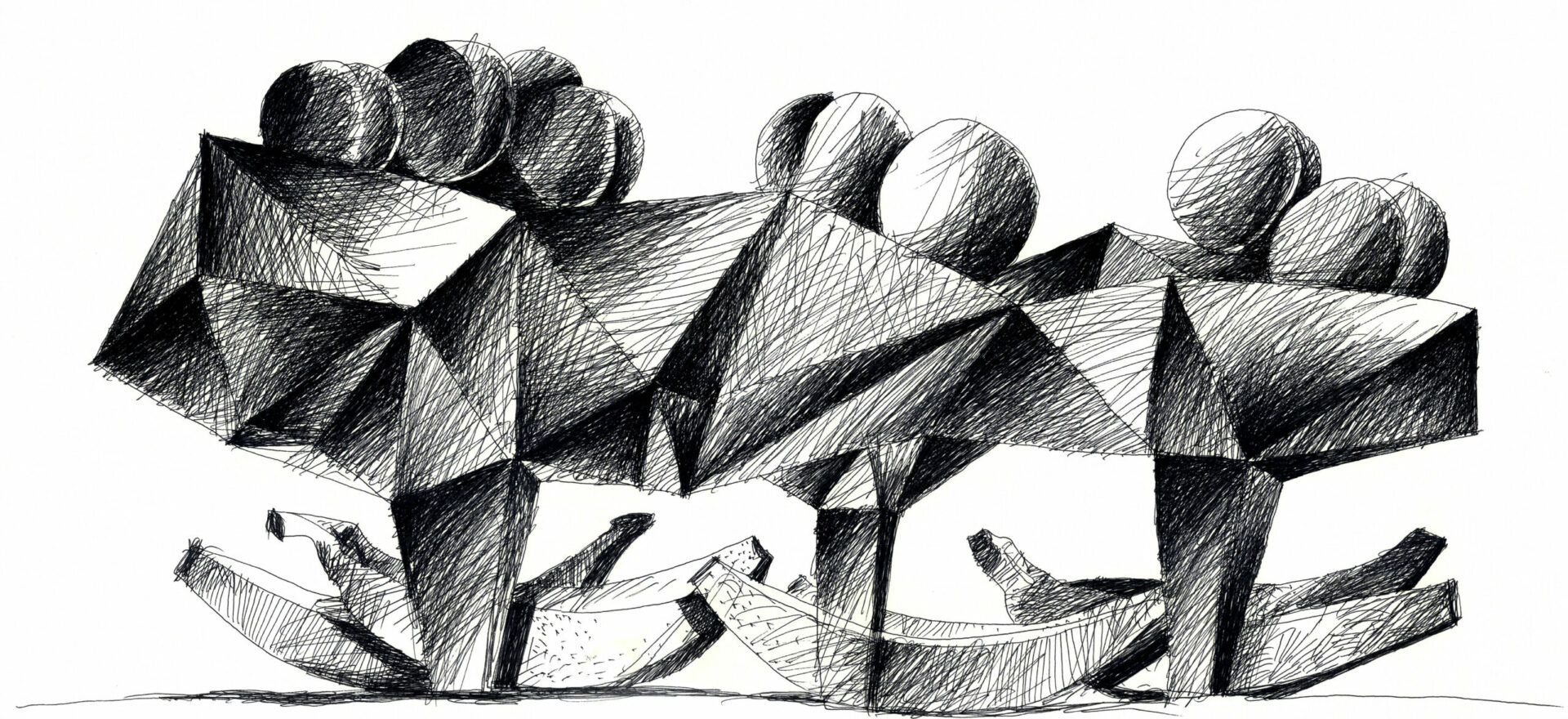 Fruits like to stay in the shade, Art Drawing by Mario Trimarchi in black ink on paper, 2015.