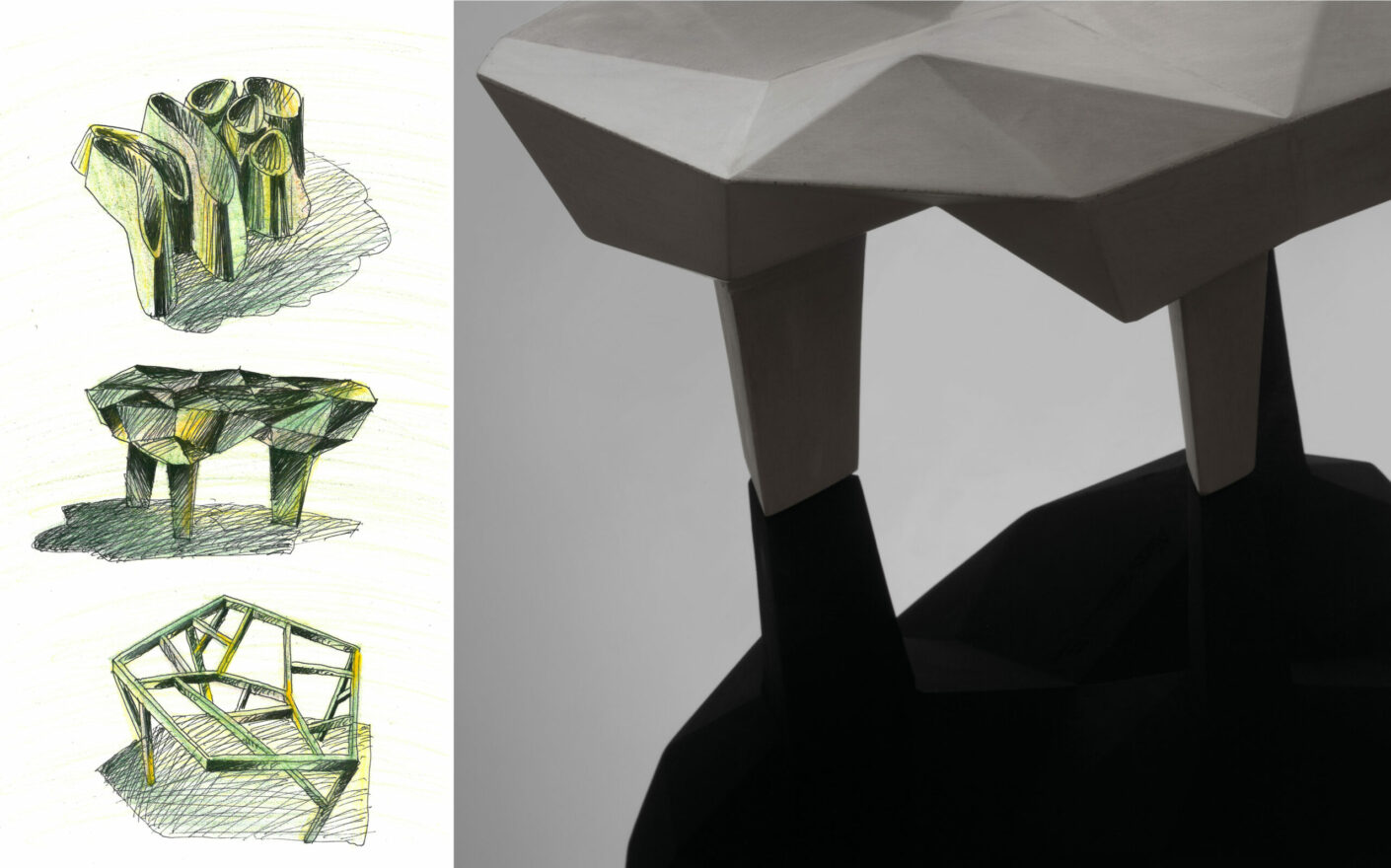 Out of scale art drawings by Mario Trimarchi for Alias and picture showing details of the form.