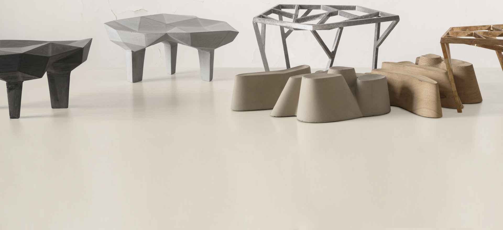 Fruit trays and center pieces by Mario Trimarchi for Alias, in a neutral background with a light projecting soft shadows.
