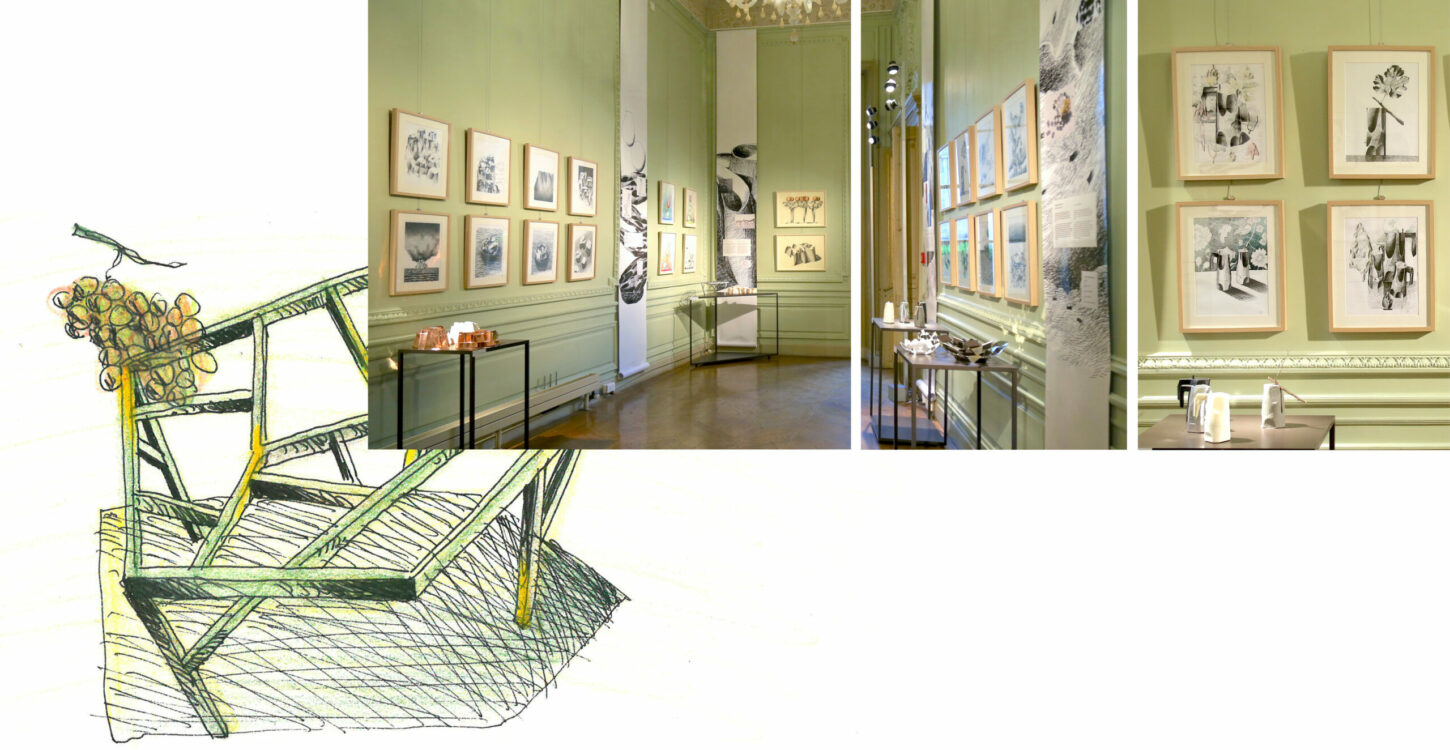 Art Drawing of Oggetti Smarritti by Mario Trimarchi for Istituto Italiano di Cultura Paris, and 3 pictures showing the exhibition corridors with the art pieces on the light green walls.