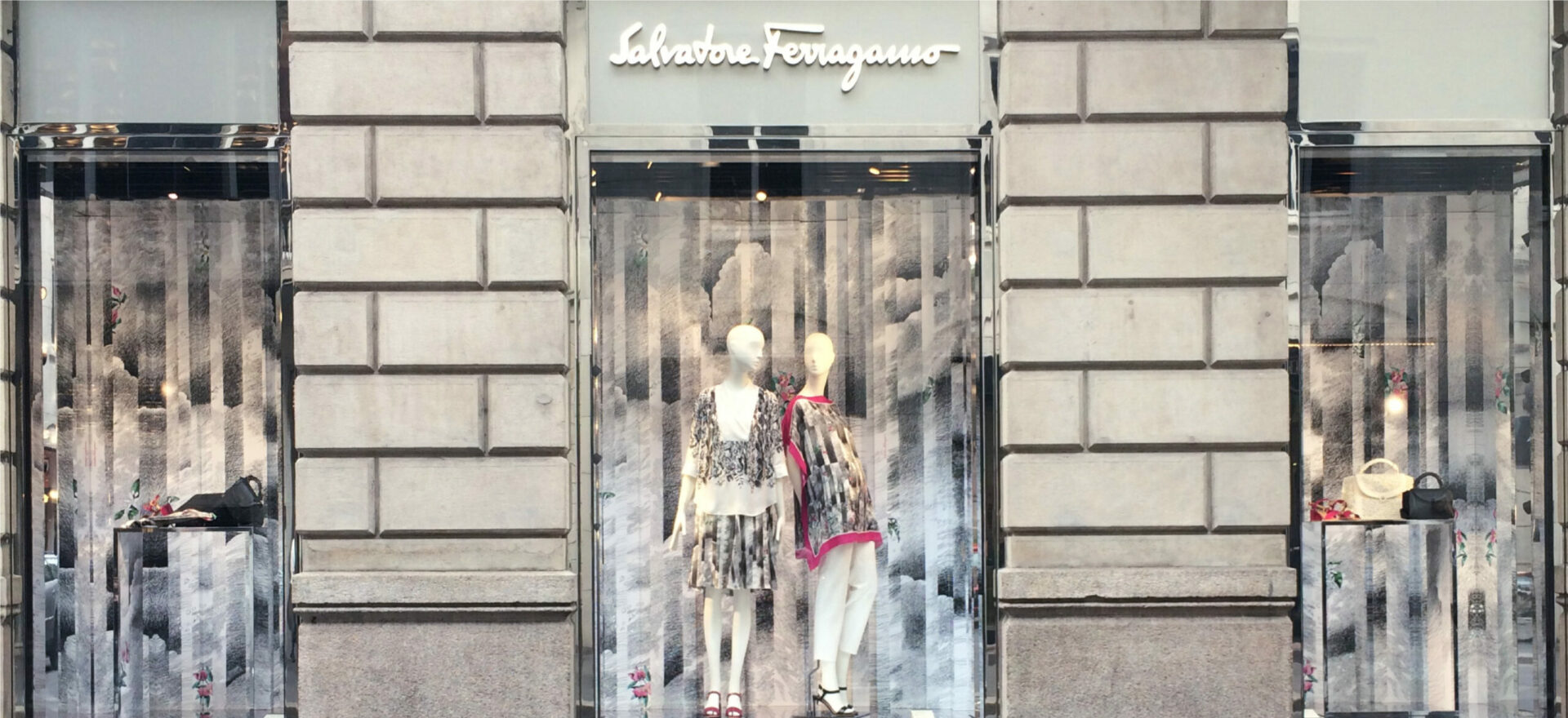 Art work by Mario Trimarchi for Salvatore Ferragamo Capsule Collection of exclusive scarf made out from orange fibers. Design of the shop windows of Salvatore Ferragamo shop around the world.