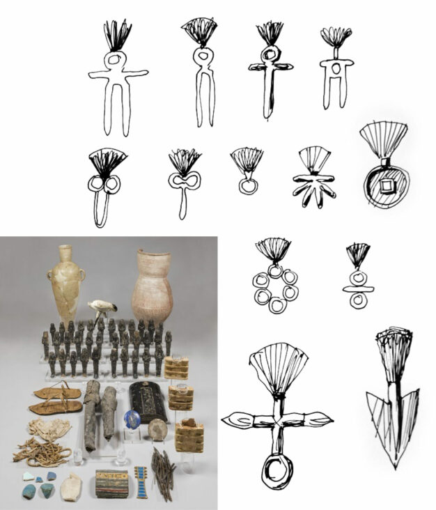 A series of art drawings by Mario Trimarchi representing the grave goods of Nefertari from Egypt.