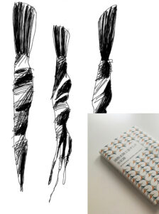 Art Drawing of Yuubi brushes by Mario Trimarchi on black ink on paper and photo of the cover of the catalogue of International Hokuriku Kogei Summit.