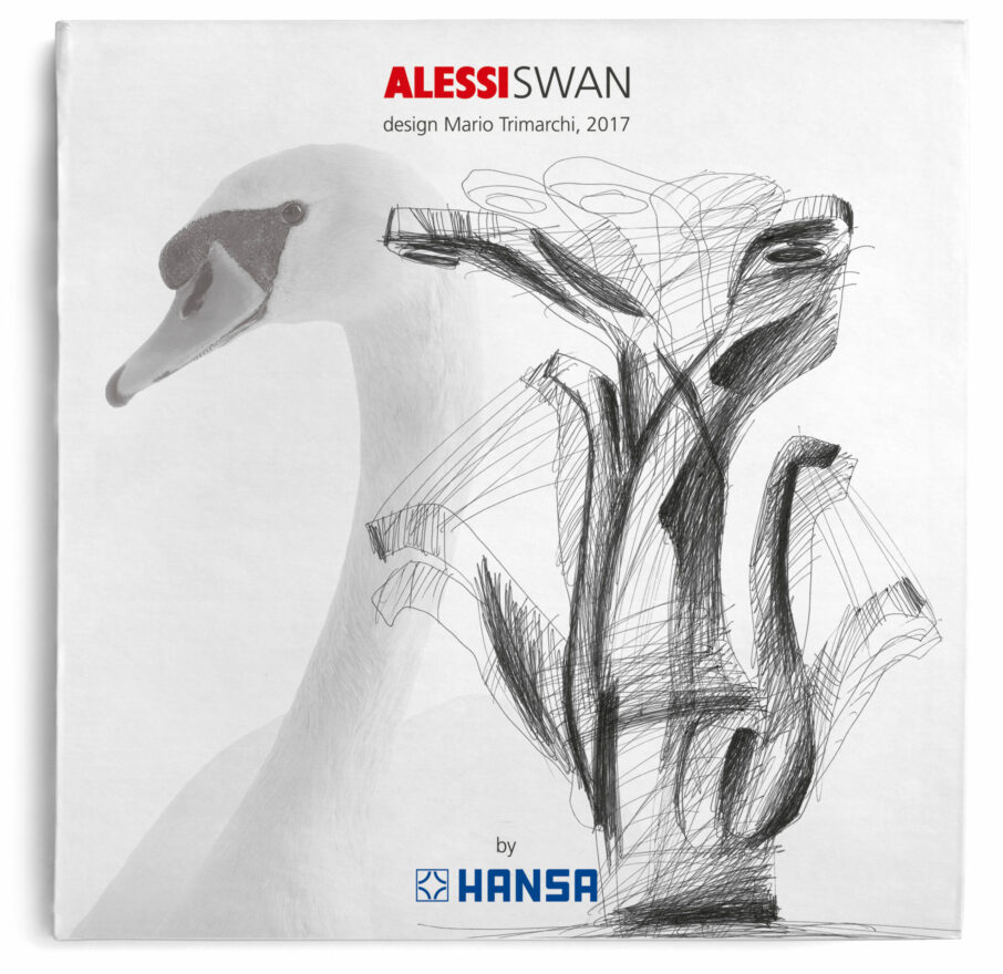 Cover of the Swan Kitchen Faucet designed by Mario Trimarchi in 2017 produced with the collaboration between Hansa and Alessi. The design was awarded the Good Design Award in 2017.