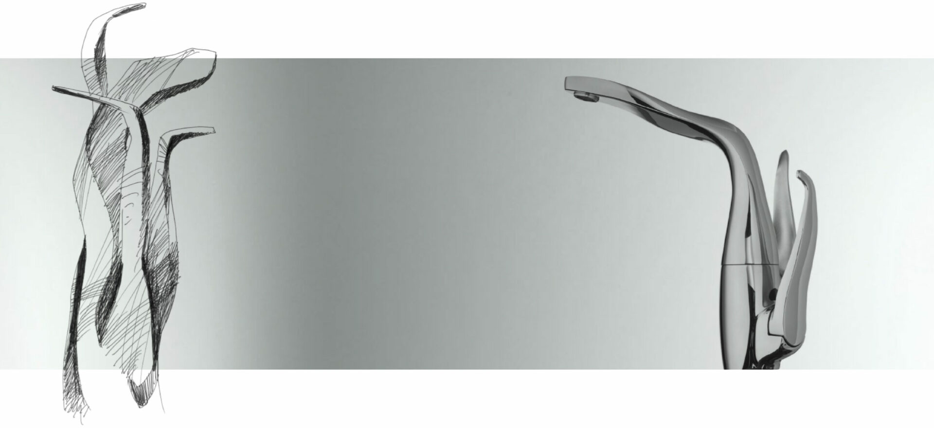 Art drawing of Swan kitchen faucet with black ink on paper. On the right side of the image a side picture shows the result of the design into the object. The design was awarded the Good Design Award in 2017.