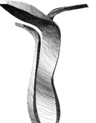 Art drawing of Swan kitchen faucet with black ink on paper. The design was awarded the Good Design Award in 2017.