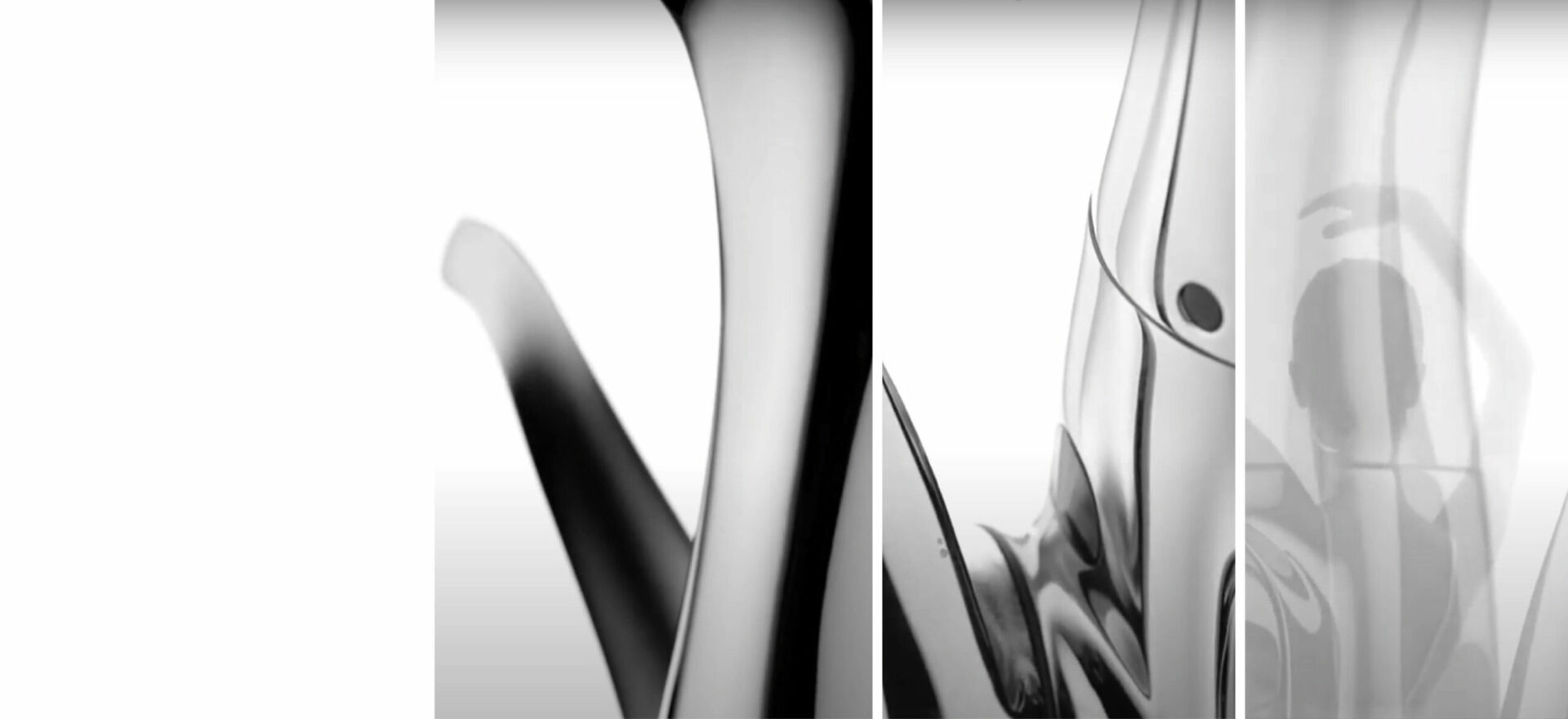 Art drawing of Swan kitchen faucet with black ink on white paper and the picture on a greyscale of a swan from the back. The design won the award of Good Design Award in 2017.