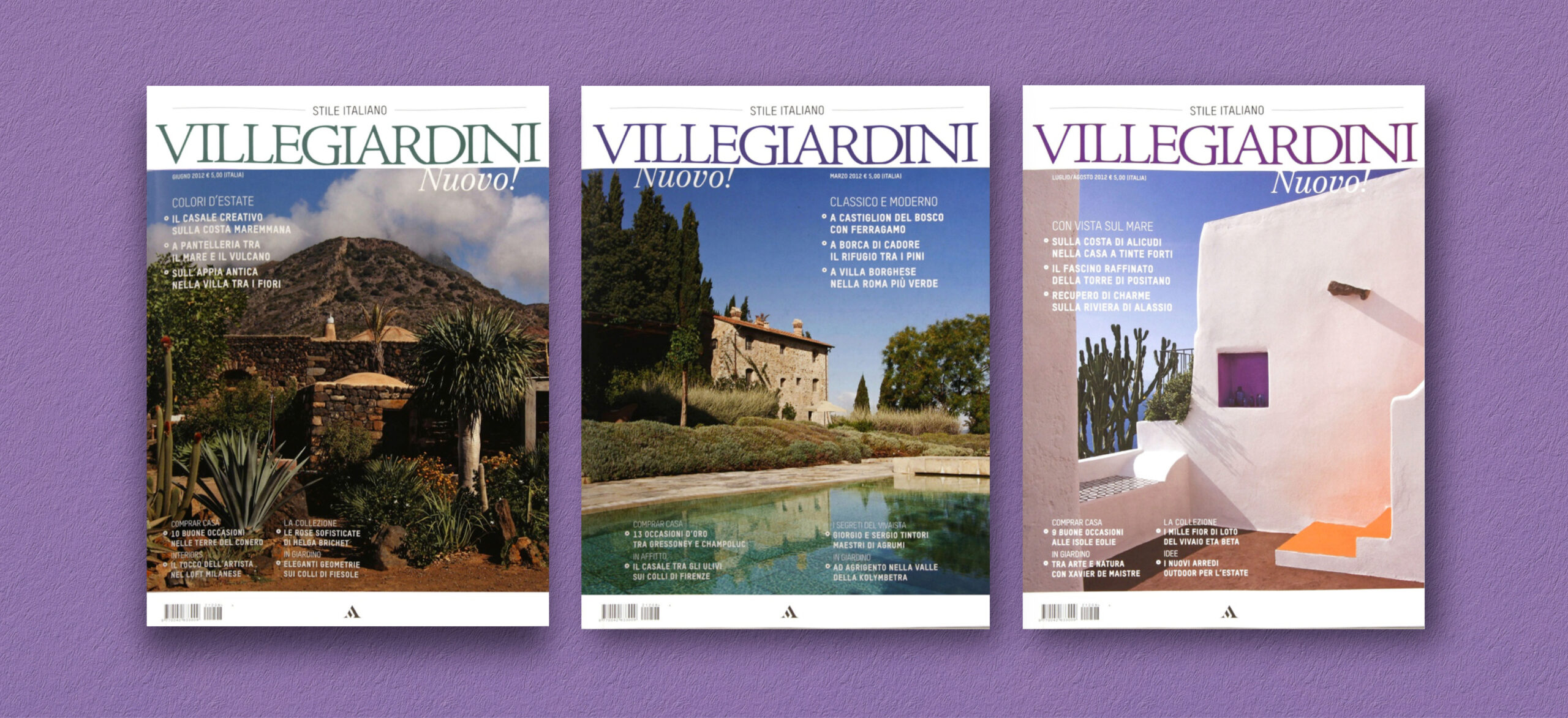 Three covers of Ville Giardini Magazine showing detail of the logo typography and composition of text and images used in the project of the Art Direction and Graphic Design for Visibilia Editore in a light violet background.