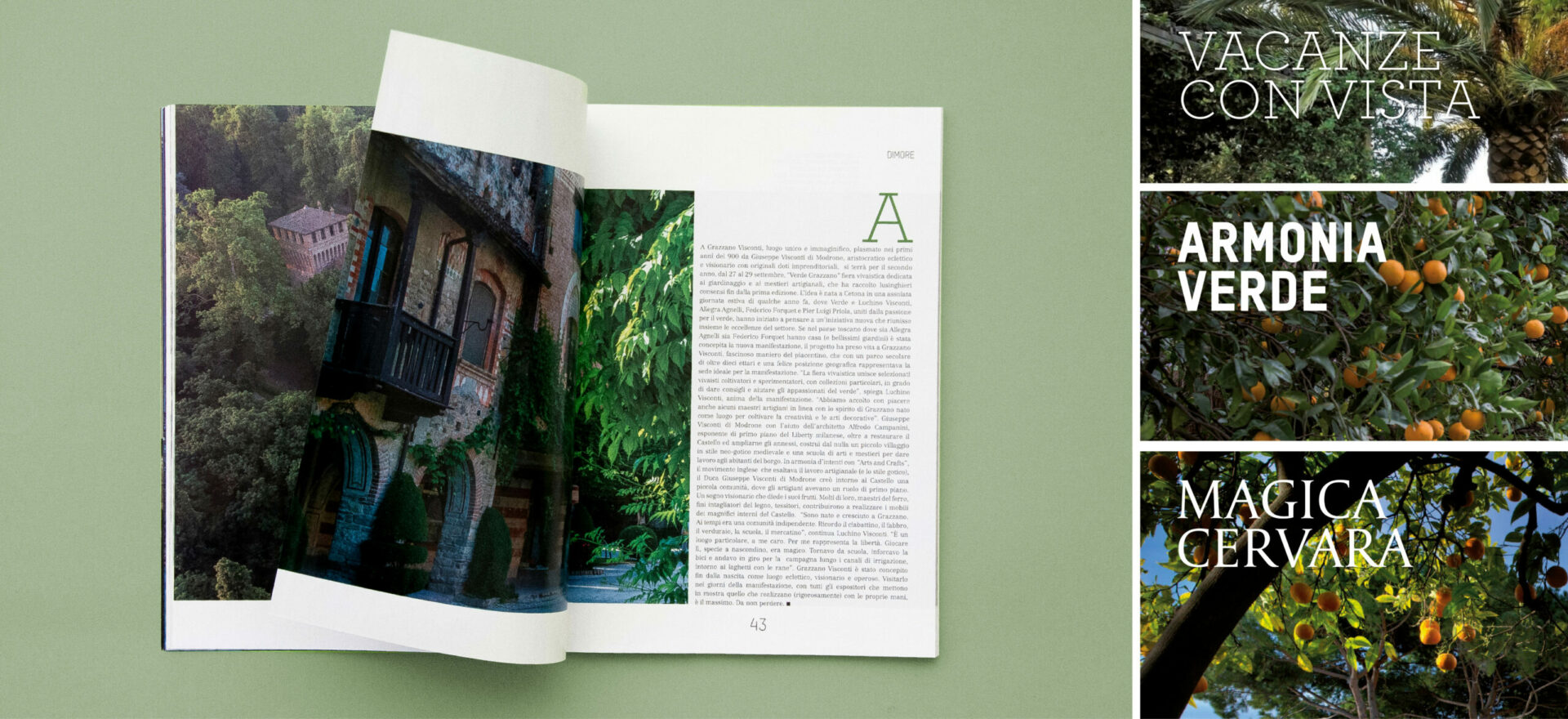 Opened Ville Giardini magazine showing detail of the typography and composition of text and images used in the project of the Art Direction and graphic Design for Visibilia Editore in a light green background. On the right side of the image there is three different compositions of titles for the magazine sections, with plants in background in a blue sky.